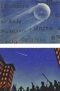 TWO PAINTINGS OF THE SATELLITE SPUTNIK,..., 1958